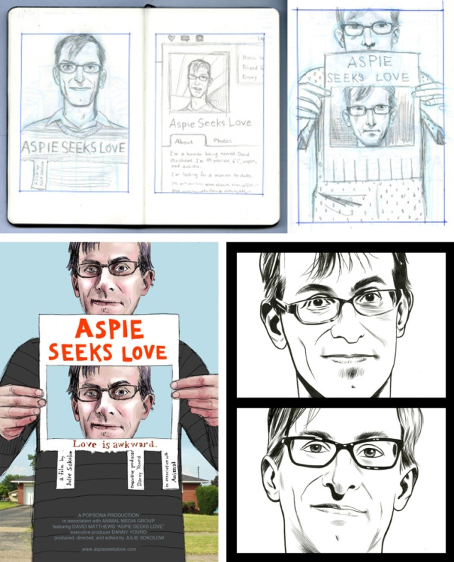 Aspie Seeks Love Poster Process by Jim Rugg